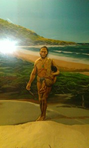 A painting from the Tangata Whenua exhibition in the Otago Museum.  Looks like a depiction of the Hohere type sling